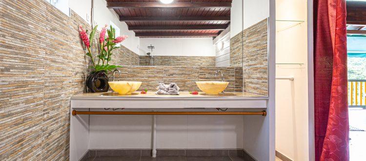Arbre à Pain salle de bains| Villas Ti Créole | Hébergement Deshaies